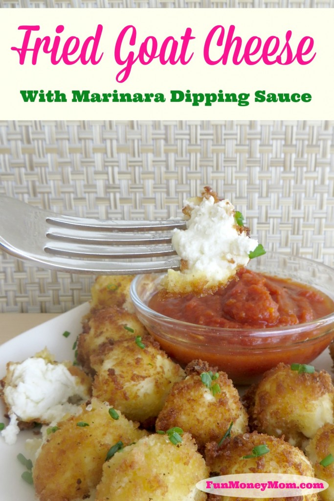 If you like goat cheese, this fried goat cheese with marinara sauce is going to have your mouth watering!