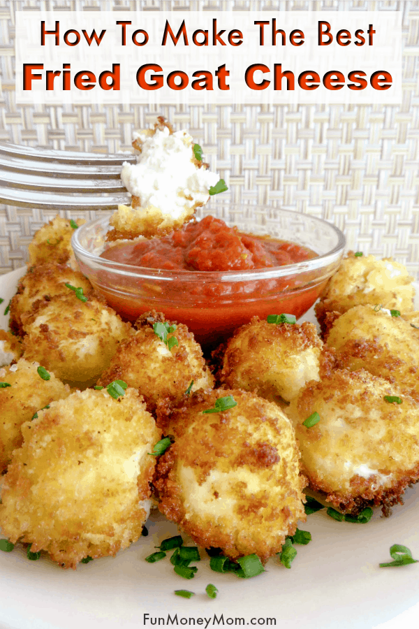 Fried Goat Cheese Balls For A Party - These bite size goat cheese balls make the perfect appetizer for your next party! Party food is always fun and these fried goat cheese balls with panko are so mouthwatering good that you'll want to make sure to make plenty! #appetizer #goatcheese #partyfood #friedgoatcheese #bitesizefood