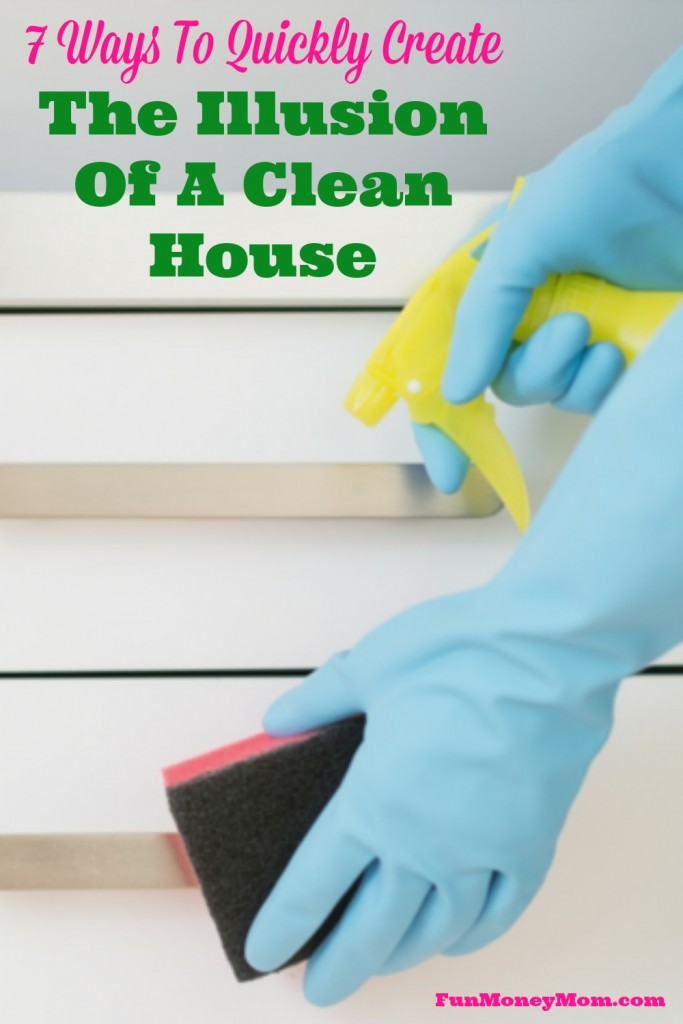 Need the house cleaned in a hurry?  These tips will help you quickly create the illusion of a clean house (you can do the real cleaning later)