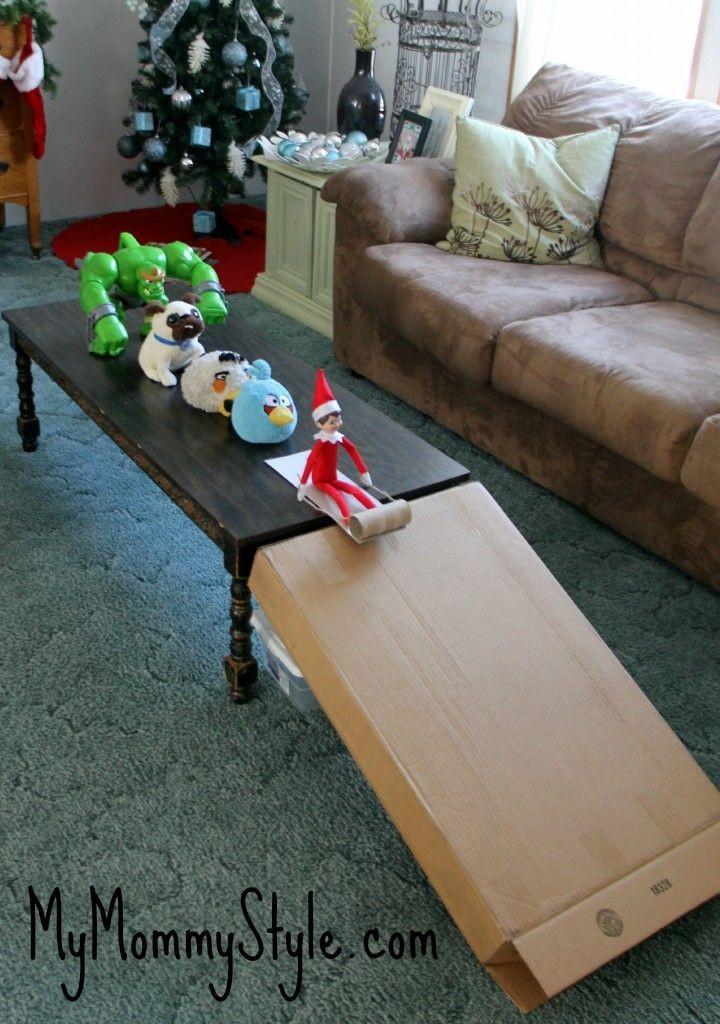 Elf On The Shelf Ideas - Sledding Elf