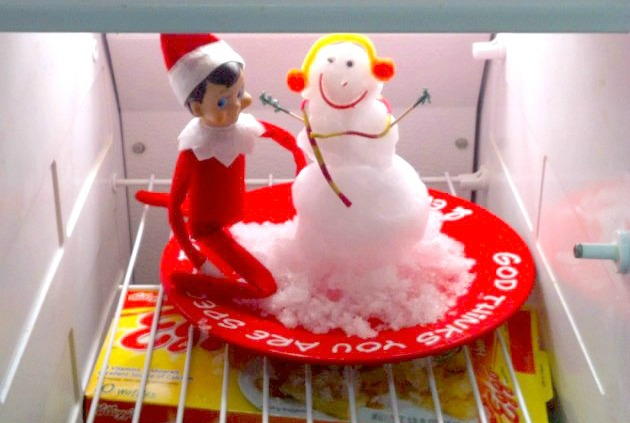 Elf On The Shelf Ideas - Building A Snowman