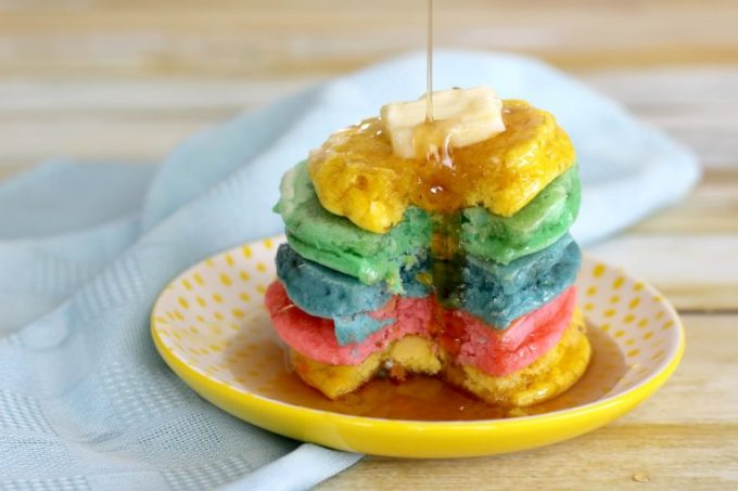 When you serve these easy rainbow pancakes, there won't be a lot left over