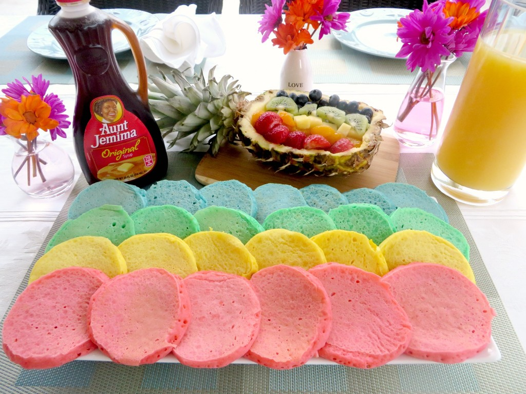 What kid wouldn't love these easy rainbow pancakes?