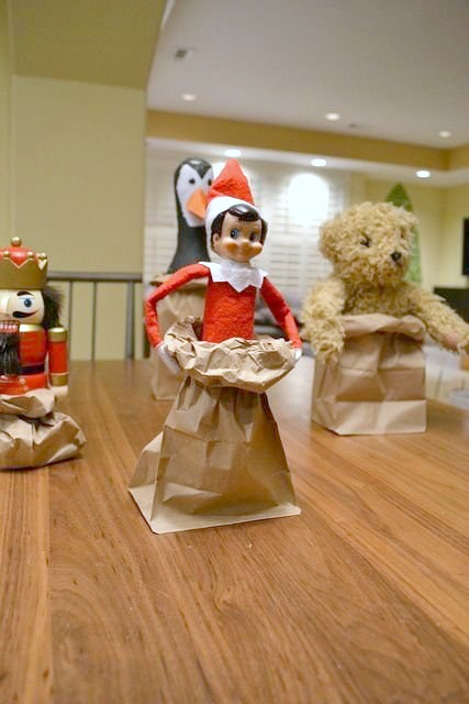 Elf On The Shelf Ideas - Sack Races
