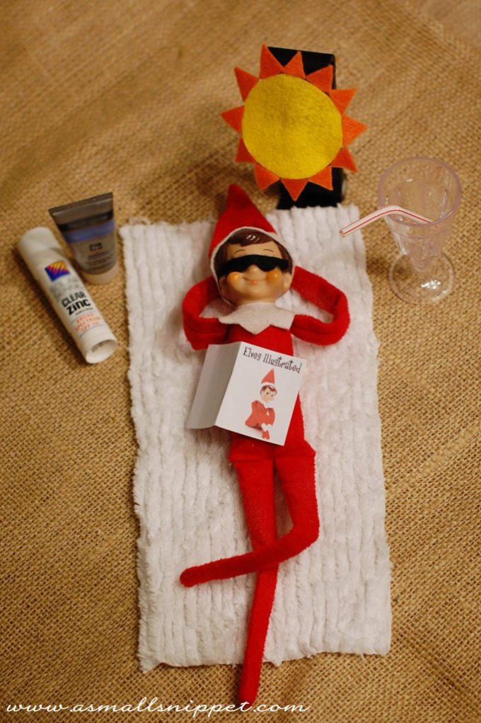Elf On The Shelf Ideas - Sunbathing Elf