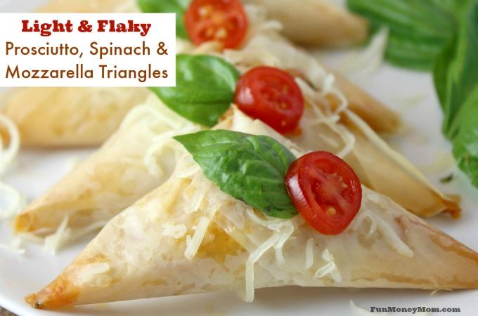 Light & Flaky Spinach, Prosciutto And Mozzarella Triangles