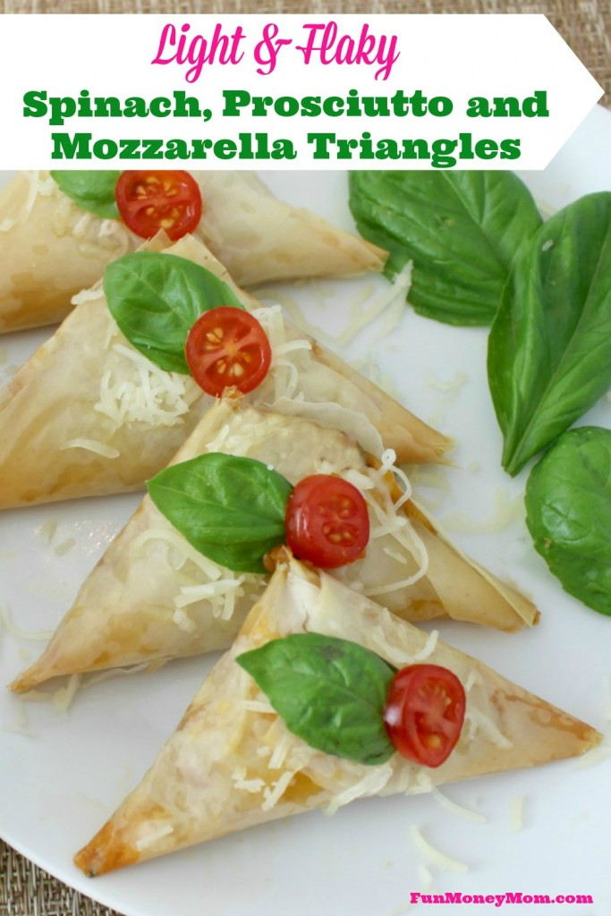 Make these delicious Spinach, Prosciutto and Mozzarella Triangles for your next party and watch them disappear!