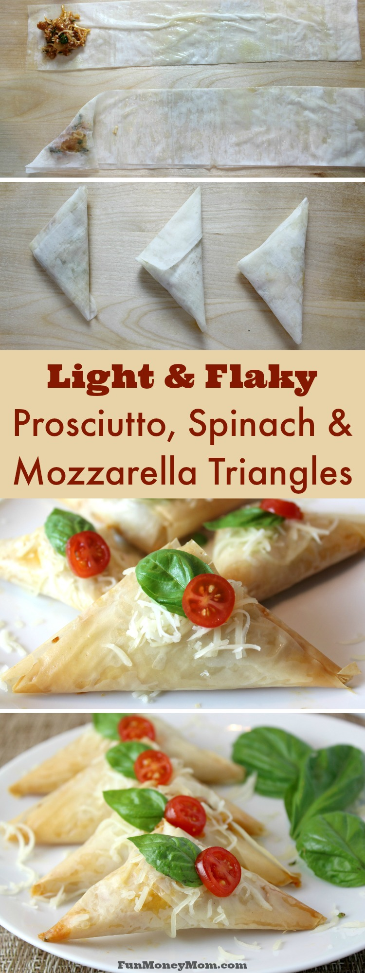 Looking for a great appetizer or party food for your next get-together? This recipe for Prosciutto, Spinach & Mozzarella Triangles will impress your guest for sure!