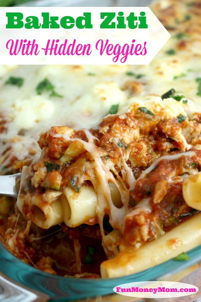 Not only will the entire family love this delicious baked ziti, the kids won't even realize that you snuck some veggies in!