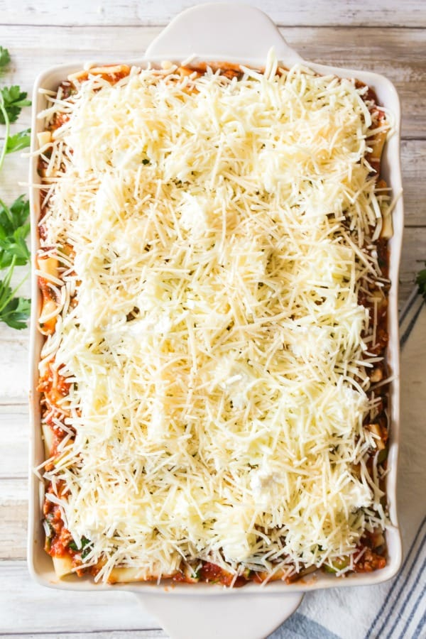 Baked ziti recipe ready for the oven