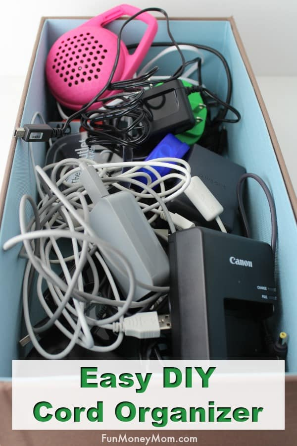 DIY Cord Organizer - Organize electronics chargers in one simple step with this easy organizing idea! #organization #electronicsorganizer #cordorganizer #cordstorage #chargerstorage