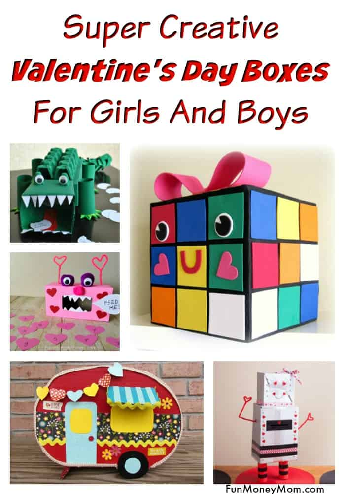 Valentine's Day Boxes - Kids will love making these cute Valentine boxes for their school parties. The kids will have a blast making these Valentine boxes for boys and girls #valentineboxes #valentinesdayboxes #valentinecraft #crafts #craftsforkids
