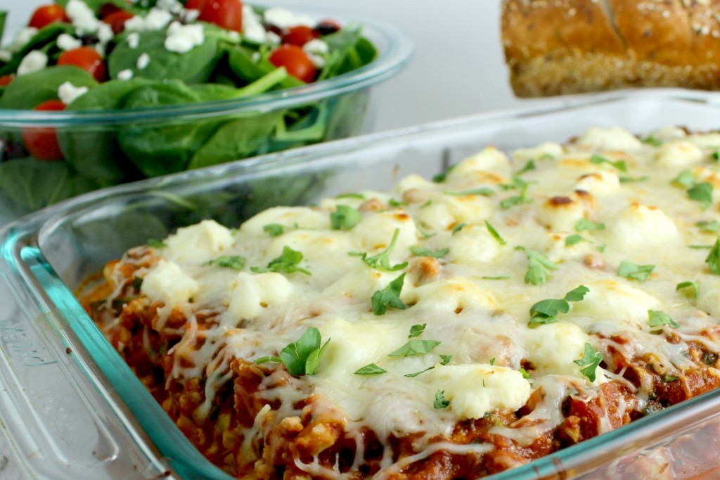 Serve baked ziti with salad and bread