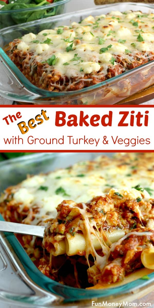 Baked Ziti - Want the best baked ziti recipe? This baked ziti with spinach is the perfect dinner recipe for busy moms. It's made with ground turkey that can easily be left out for a vegetarian recipe. #foodforkids #dinnerrecipe #bakedziti #pasta #casserole #dinner #bakedzitiwithspinach #easyrecipe