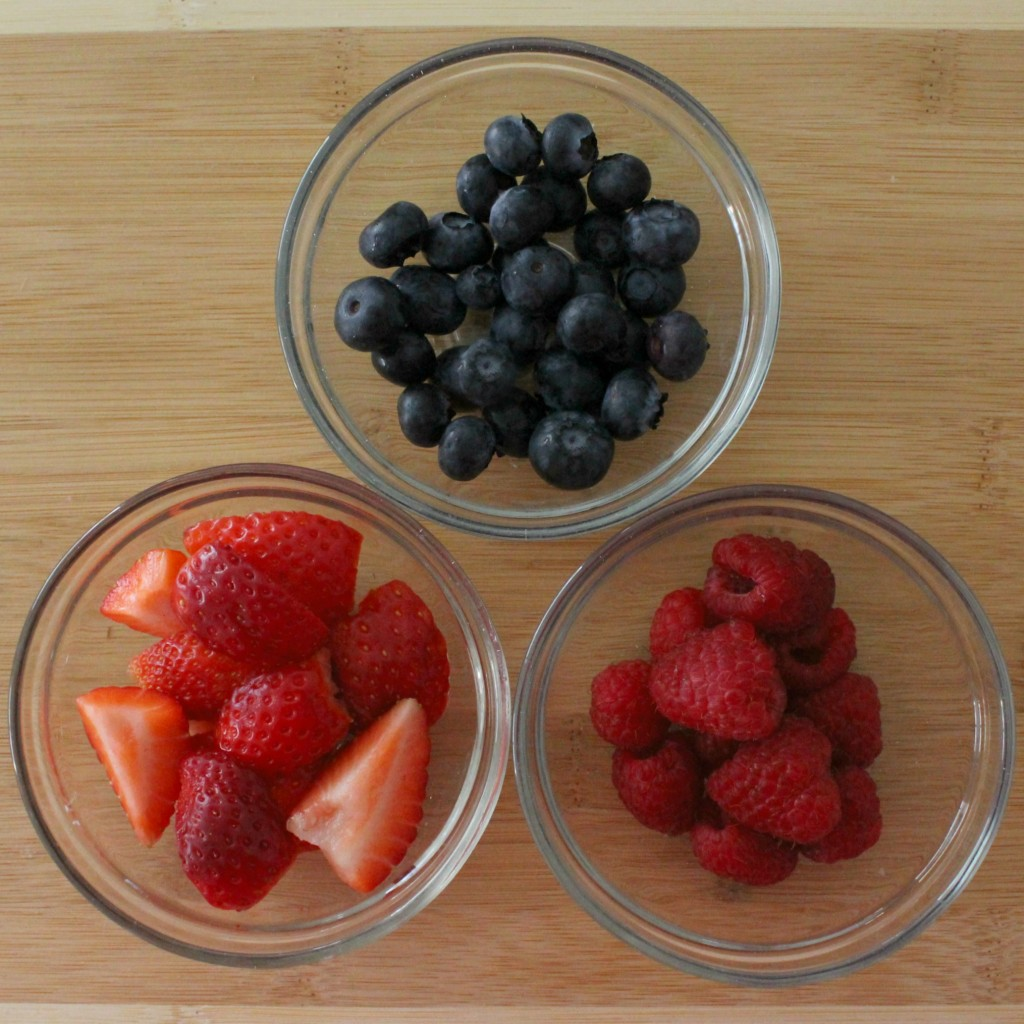 Measure the ingredients for your triple berry breakfast smoothie
