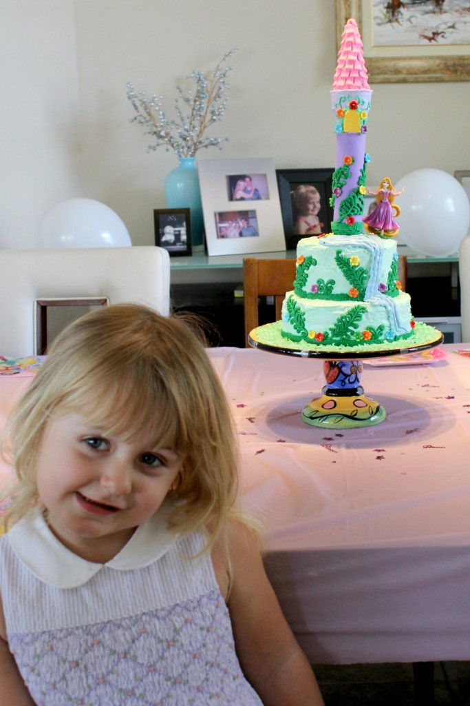 The birthday girl loved her Rapunzel birthday cake