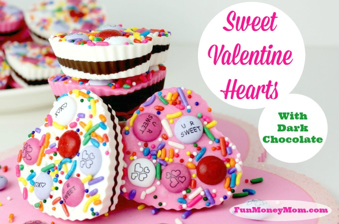 Valentine hearts with dark chocolate