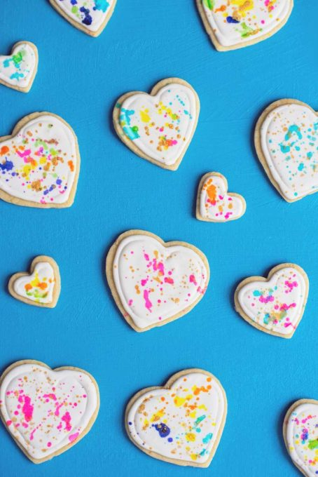 Splatter Paint Valentines Day Cookies