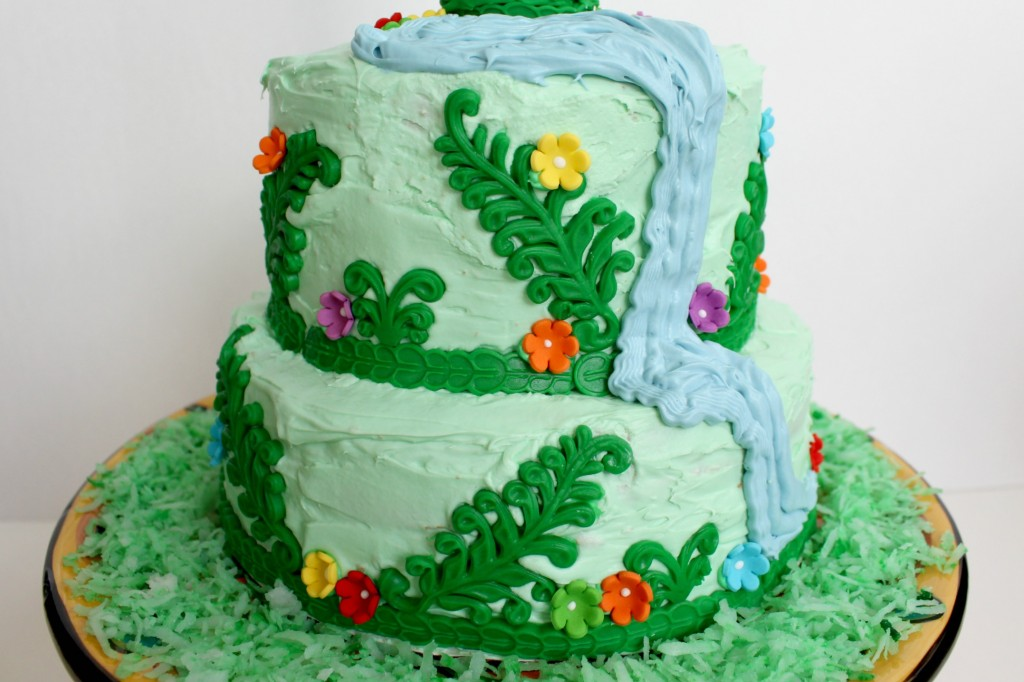 One of my favorite features of this Rapunzel birthday cake is the waterfall!