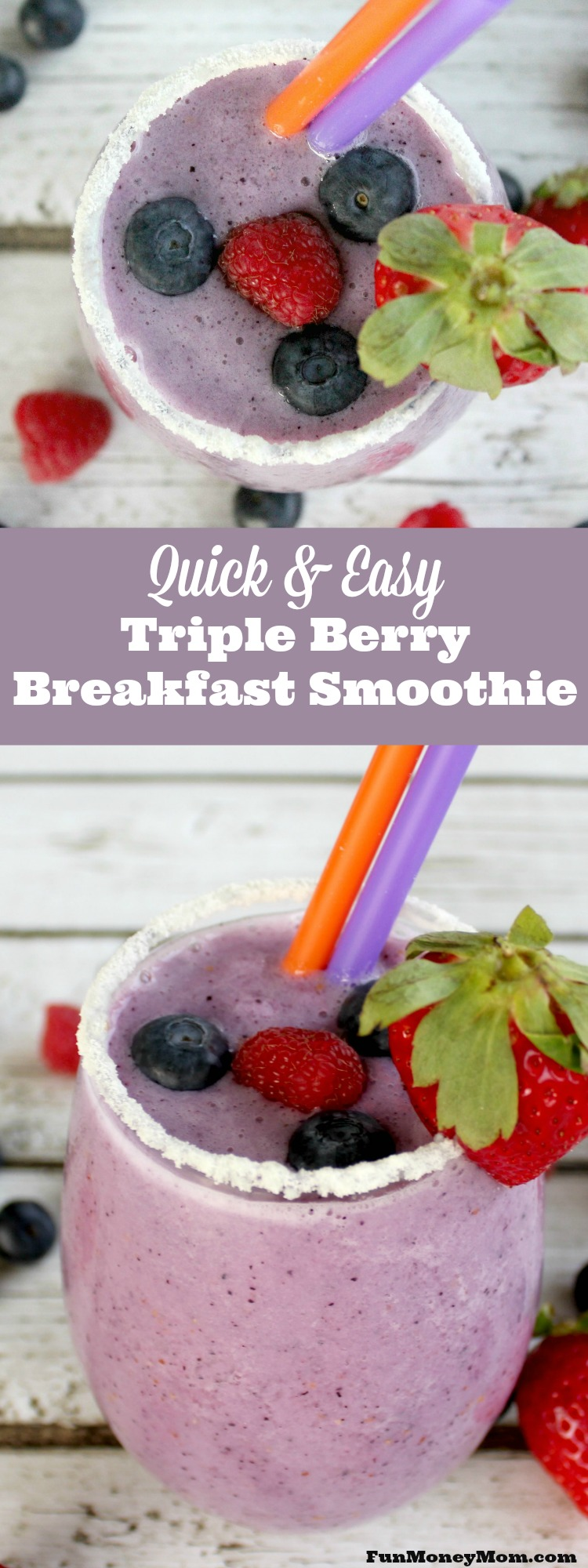 Need a quick breakfast that's healthy too? This super easy triple berry smoothie will help get you out the door on time