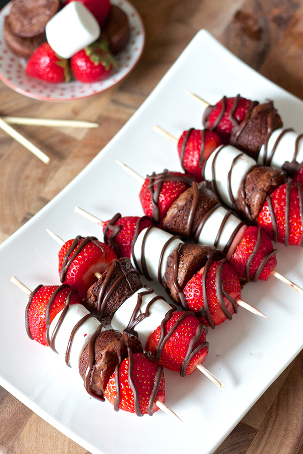Strawberry Brownie Kabob Valentine's Day Desserts