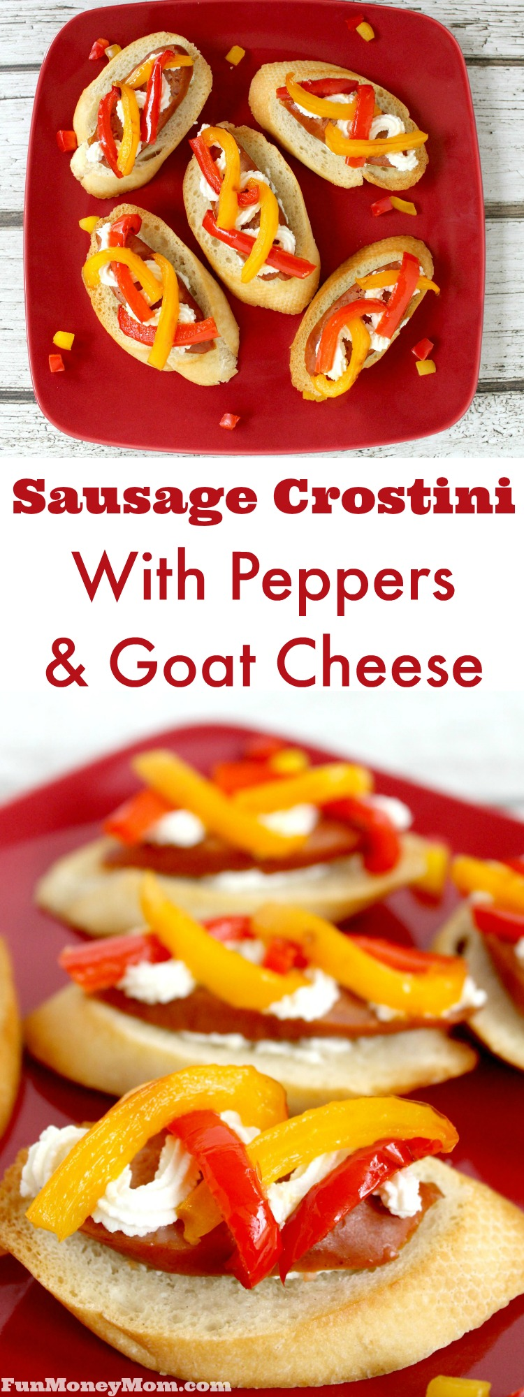 Having a party? This sausage crostini with peppers and goat cheese makes the perfect party food or appetizer for your next get together!