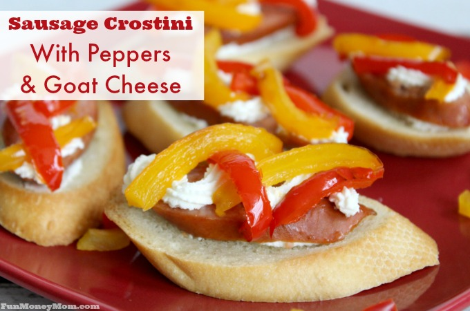 Sausage Crostini With Goat Cheese & Peppers