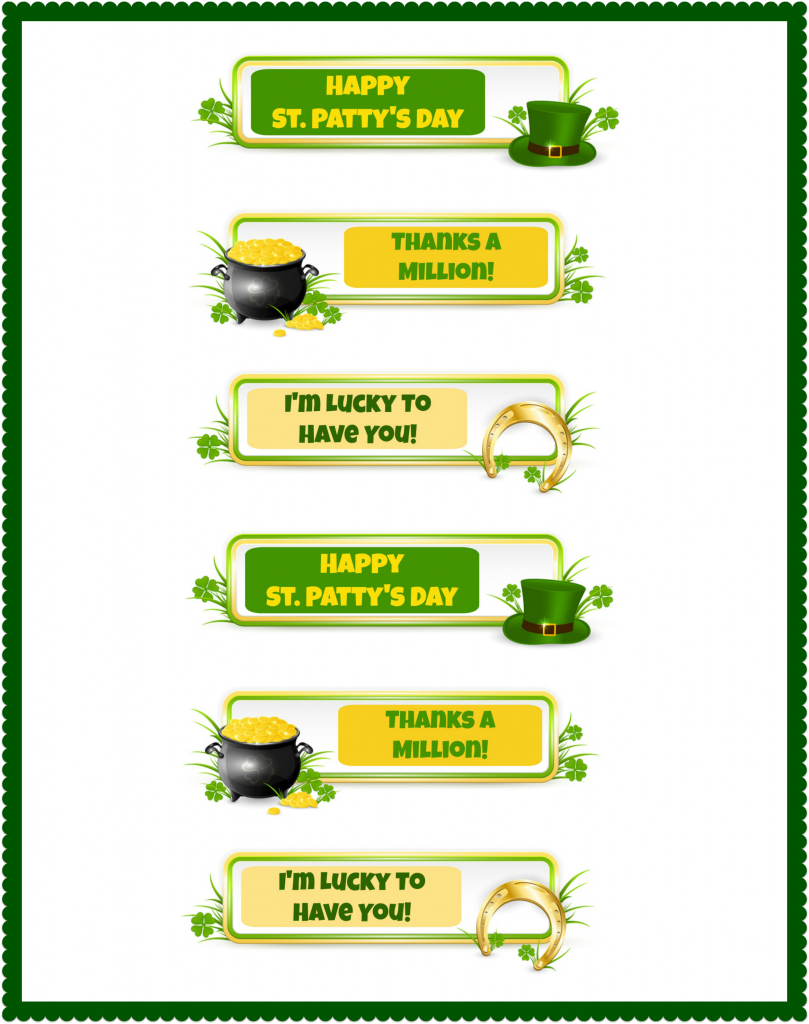 St. Patrick's Day printable tags