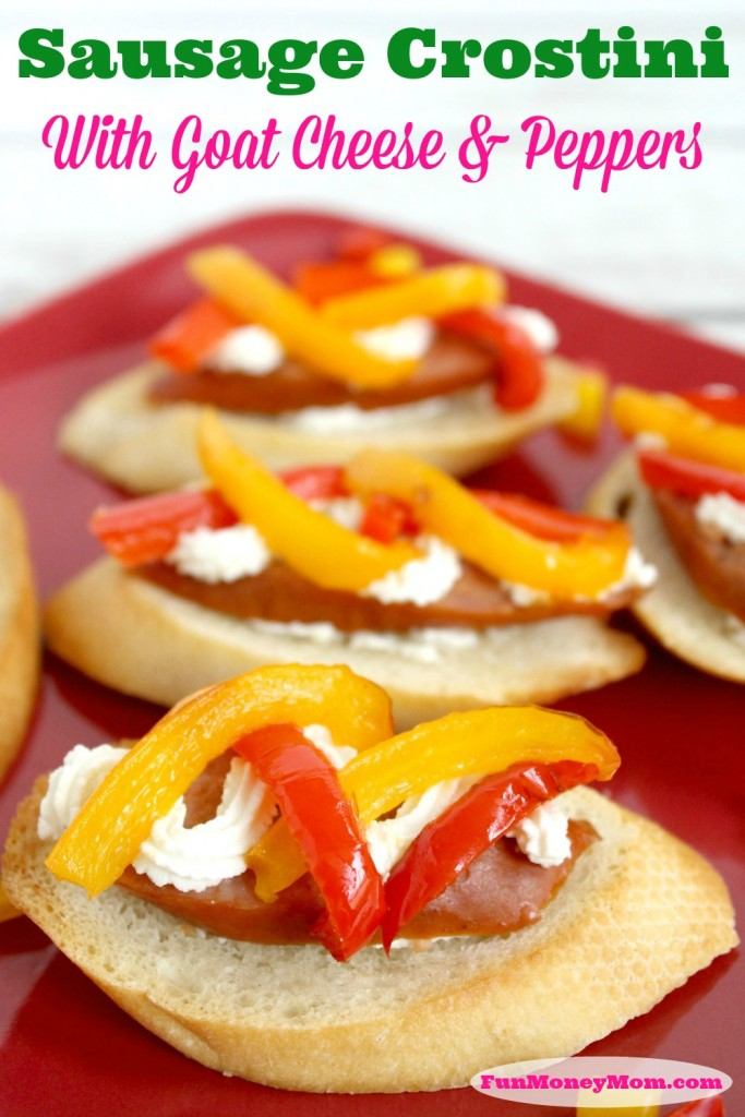 Impress your guests by serving these delicious Sausage Crostini With Goat Cheese & Peppers! Better grab yours quick before they disappear!
