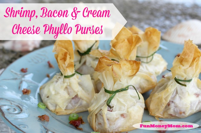 Shrimp, Bacon & Cream Cheese Phyllo Purses
