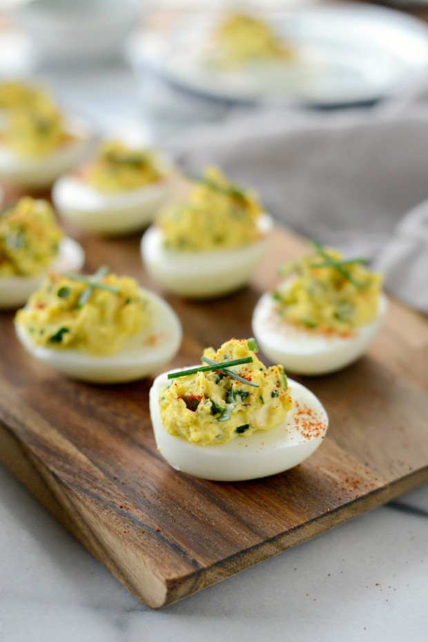 Herb and goat cheese deviled eggs