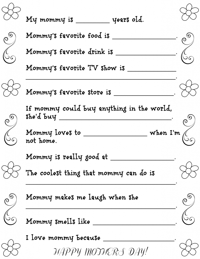 Fun Mother's Day Questionnaire with Free Printable - Fun Money Mom
