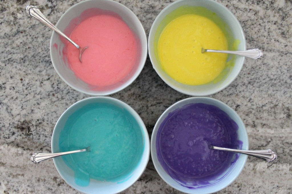 Use food coloring for the rainbow surprise cupcake batter