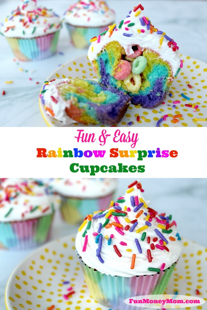Want a fun treat for your next party? Kids (and grown-ups) will love these cute Rainbow Surprise Cupcakes!