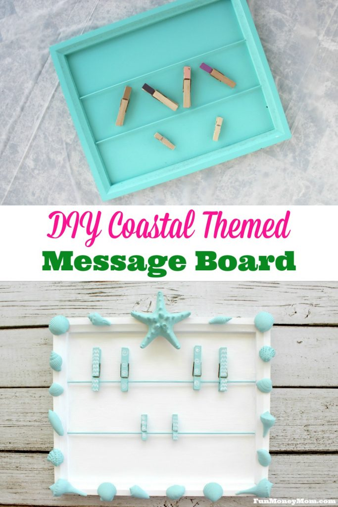 Give your work area a whole new look with this pretty DIY coastal themed message board.