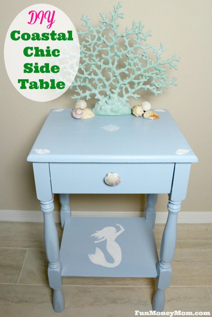 Check out my first DIY project and see how I turned a beat up second hand table into a coastal chic side table for our guest room! #CompleteWithGlade #ad