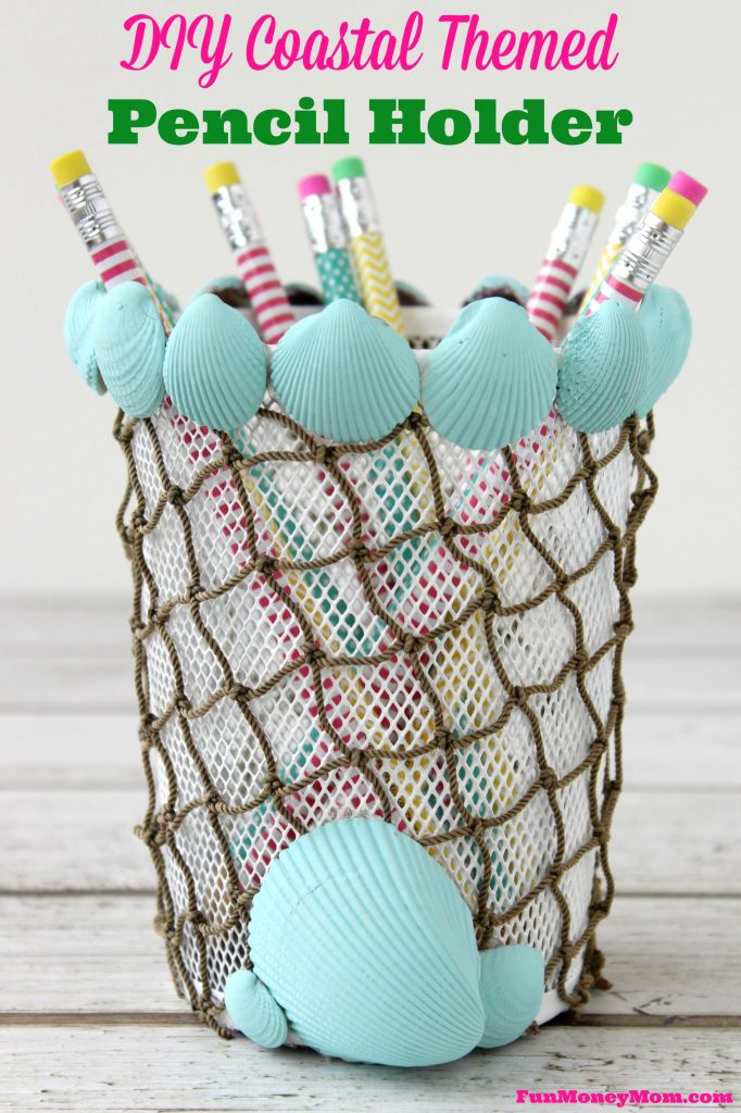 Brighten up your office space with this coastal themed pencil holder! It's fun and budget friendly too!