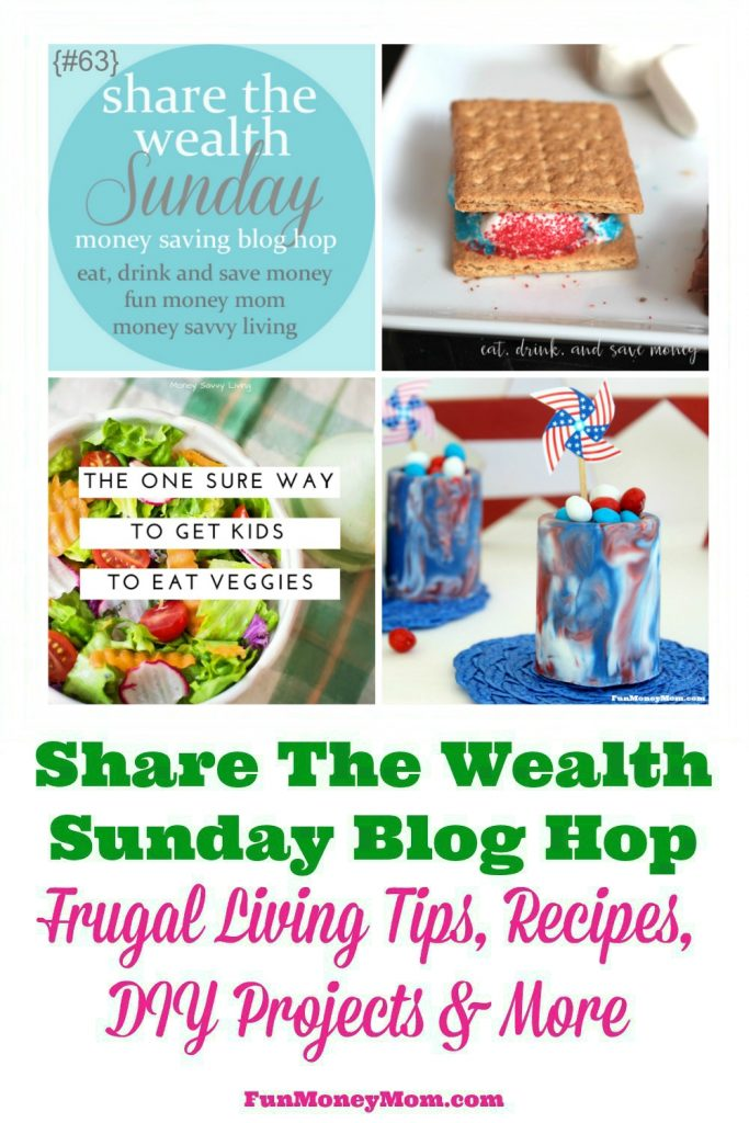 Bloggers, join our Share The Wealth Sunday Blog Hop!  We'd love to read your latest frugal living tips, recipes, DIY projects & more!