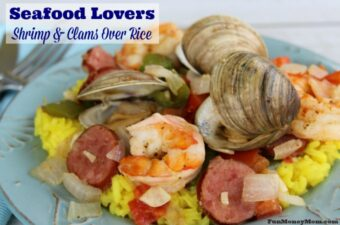 Shrimp and clams over rice feature