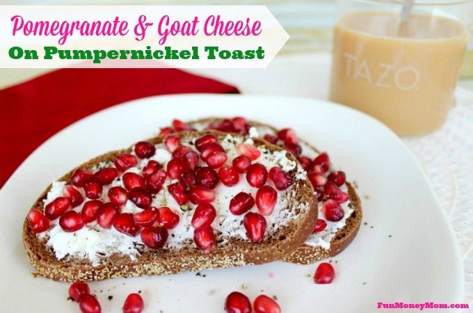 Pomegranate & Goat Cheese On Pumpernickel Toast