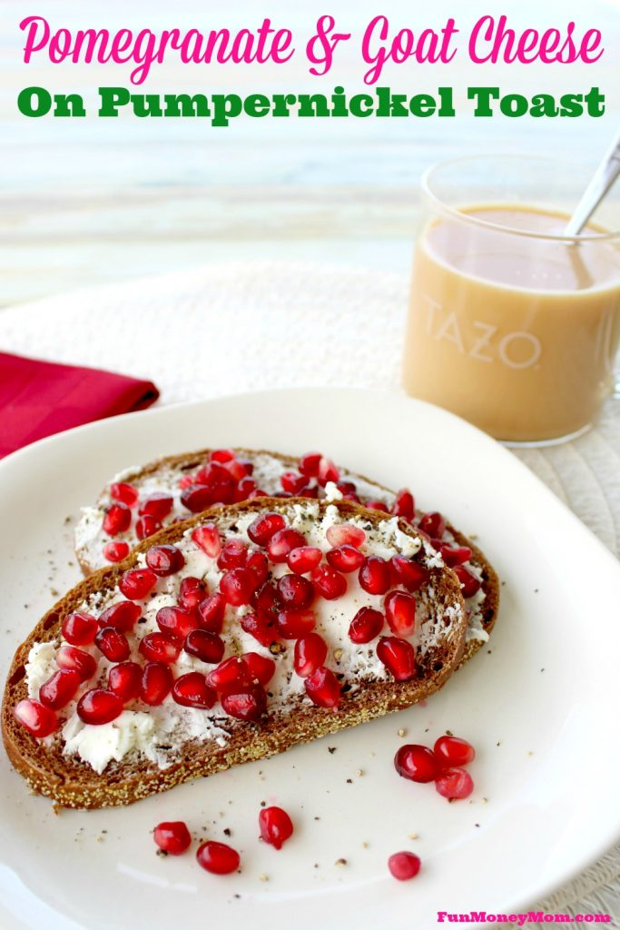 Enjoy a light and leisurely breakfast with Pomegranate and Goat Cheese on Pumpernickel Toast paired with TAZO® Chai Latte K-Cup® pods. #SweetMeetsSpicy #ChaiLatte #KCup #IC #ad