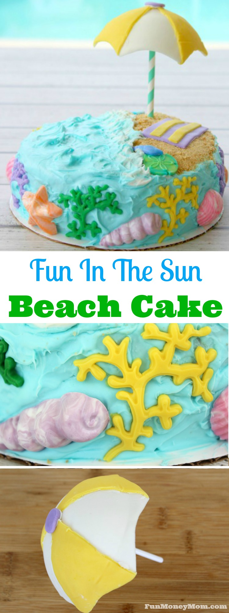Having a beach themed party? This beach cake with candy shells and beach umbrellas is going to be perfect!