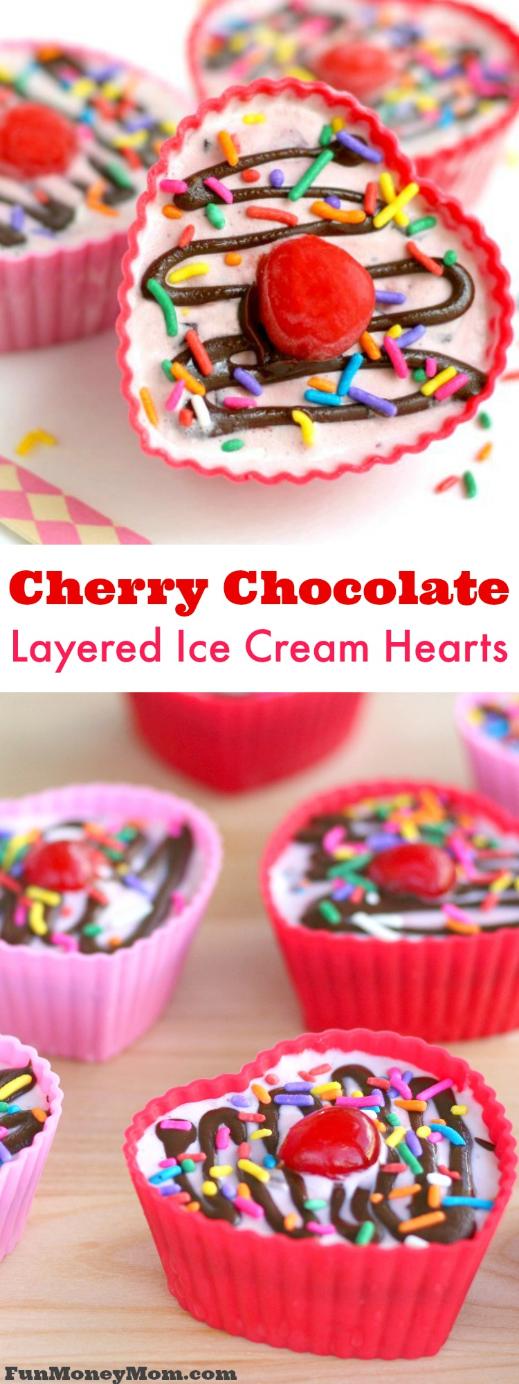 Cool off this summer with an awesome ice cream treat! These cherry chocolate layered ice cream hearts will be your new favorite dessert! #ad