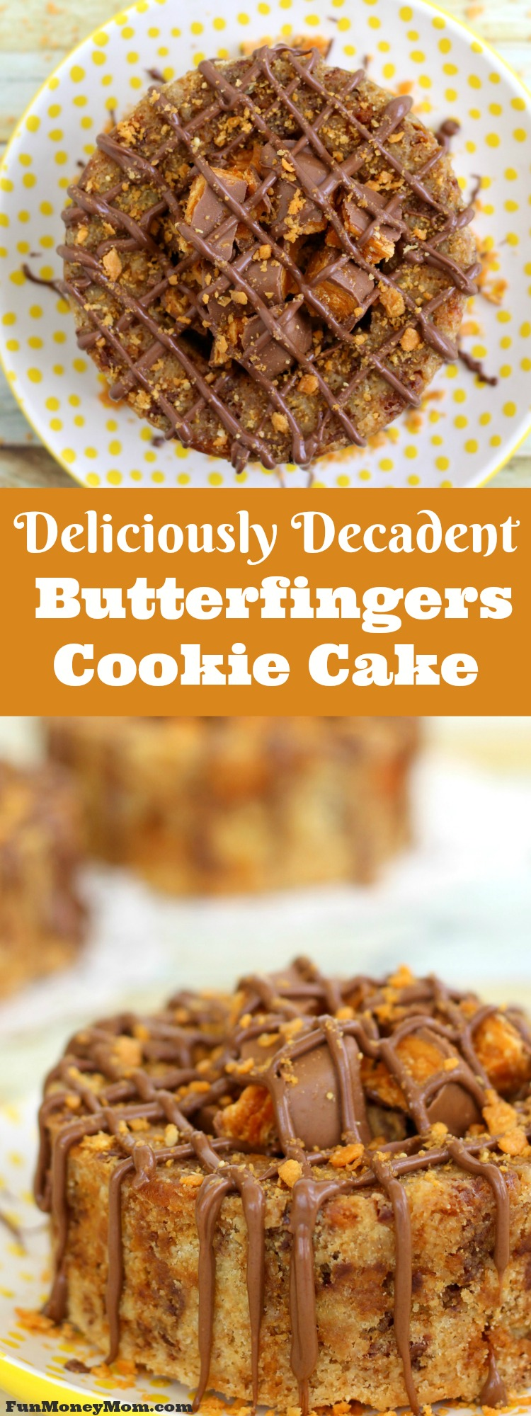 I seriously love that this mini cookie cake combines the peanut butter taste of Butterfingers combined with a delicious chocolate chip cookie! This Butterfingers Cookie Cake is a match made in heaven! #mixinmoments #ad