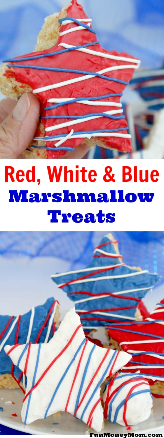 Looking for a delicious treat for your summer party? These red, white & blue marshmallow treats are perfect for Memorial Day, Fourth of July or just anytime you want to serve a fun patriotic food.