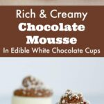 Msg 4 21+ Your guests will be wowed when serve these rich and creamy chocolate mousse desserts. Served in edible white chocolate cups, these mini desserts will be the hit of the party! #VinoBlockParty #ad