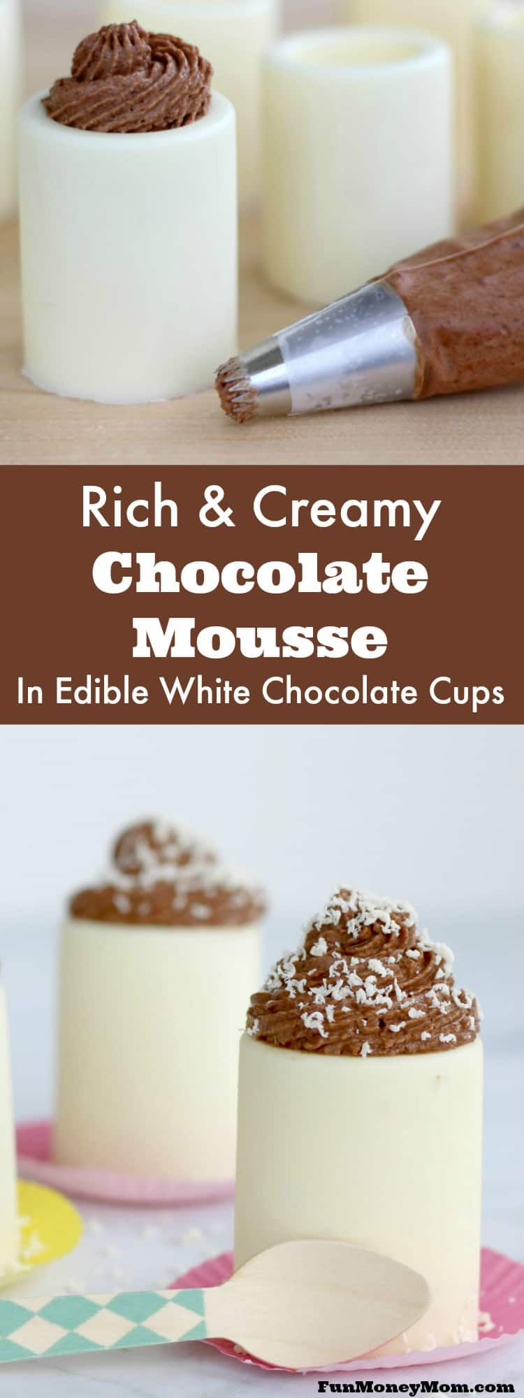 Msg 4 21+ Your guests will be wowed when you serve these rich and creamy chocolate mousse desserts. Served in edible white chocolate cups, these mini desserts will be the hit of the party! #VinoBlockParty #ad