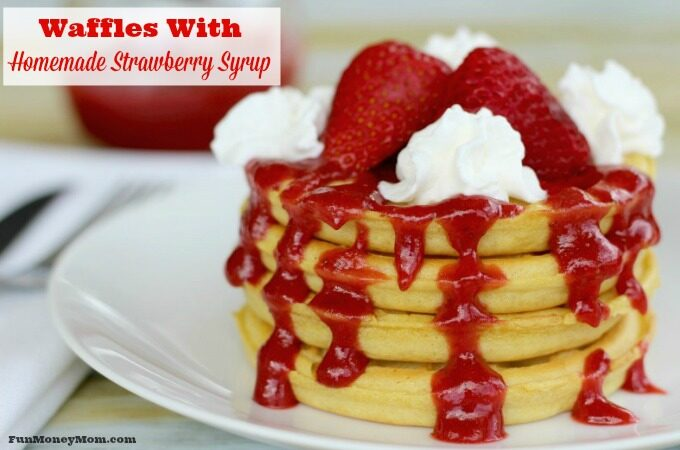 waffles with homemade strawberry syrup feature