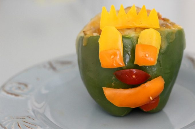 I went all out with the face on my shrimp stuffed bell pepper