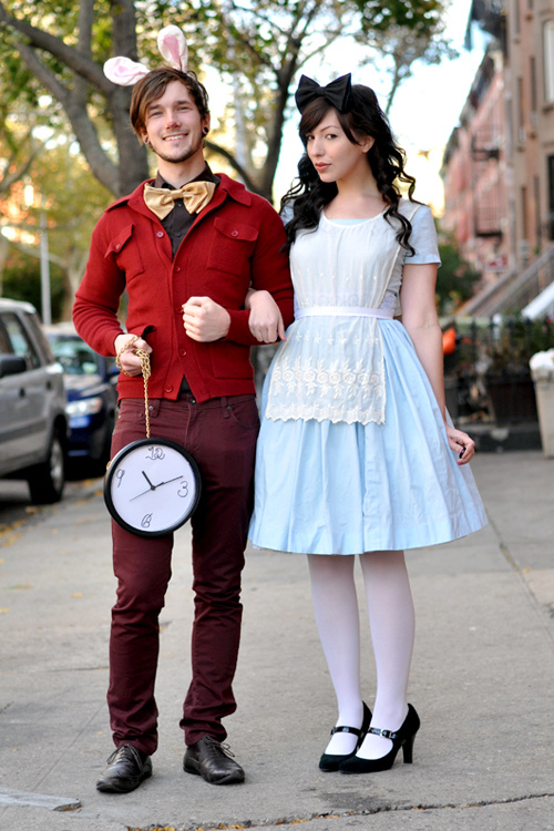 Alice and the White Rabbit Halloween costumes for couples